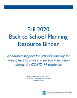 Fall 2020 Back to School Resource Binder