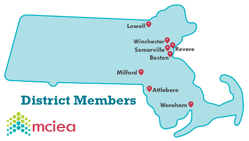 MA state map featuring MCIEA districts