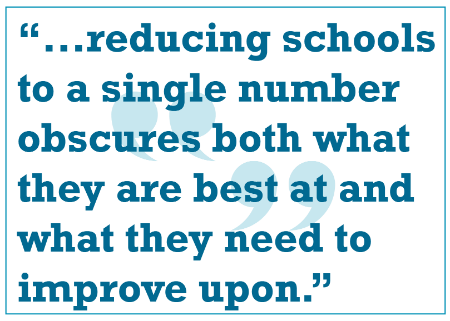 "Quote: ""Reducing schools to a single number obscures both what they are best at and what they need to improve upon."""
